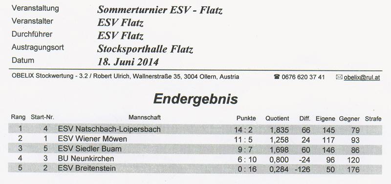 Sommerturnier ESV Flatz 2014 1