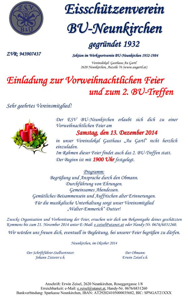 Einladung Weihnachtsfeier 2014