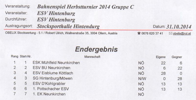 Herbstturnier ESV Hintenburg 2014 1