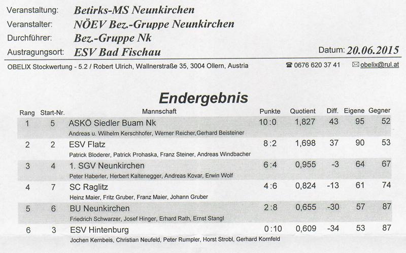 Bezirksmeisterschaft Sommer 2015 Ergebnis