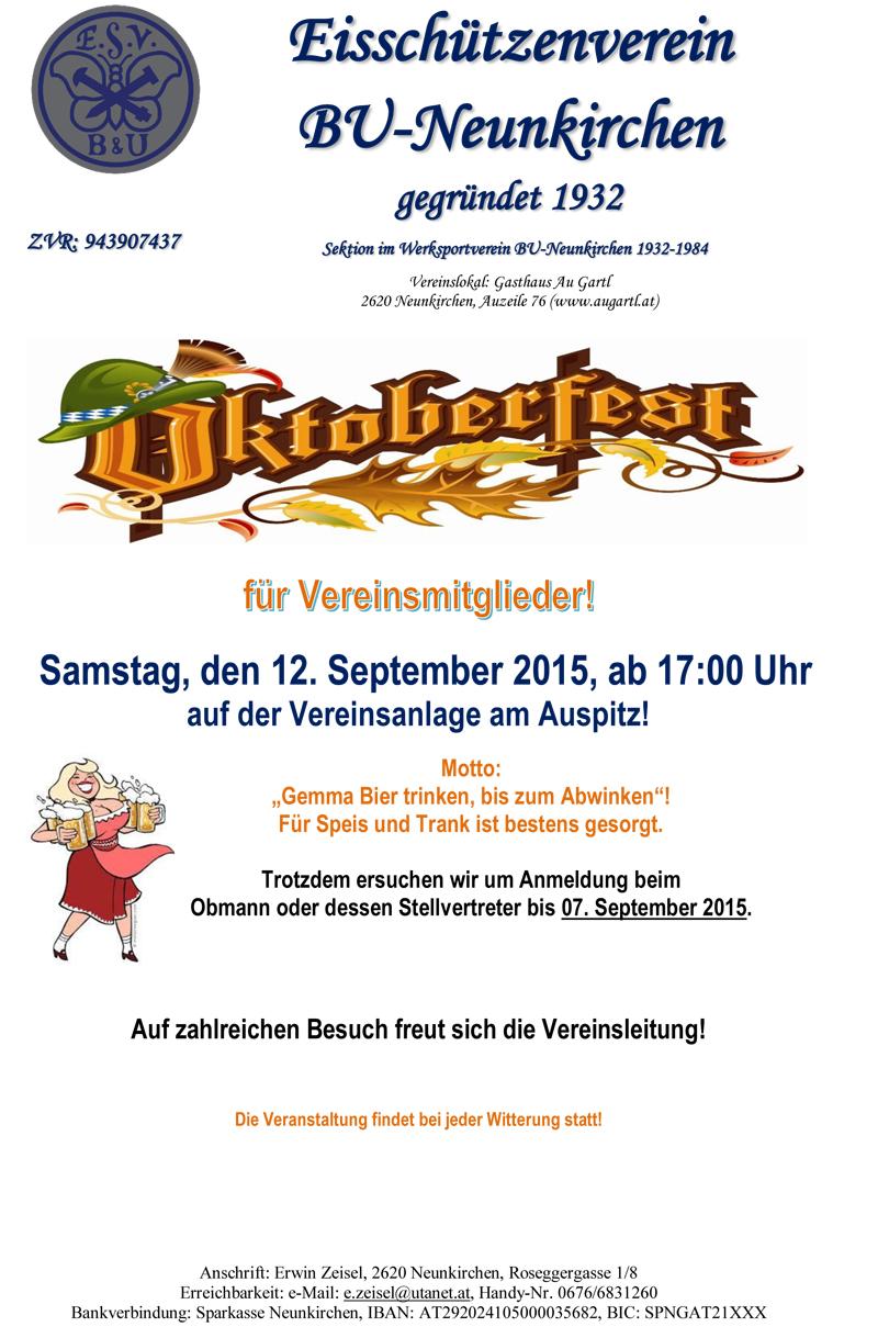 Einladung Oktoberfest 2015