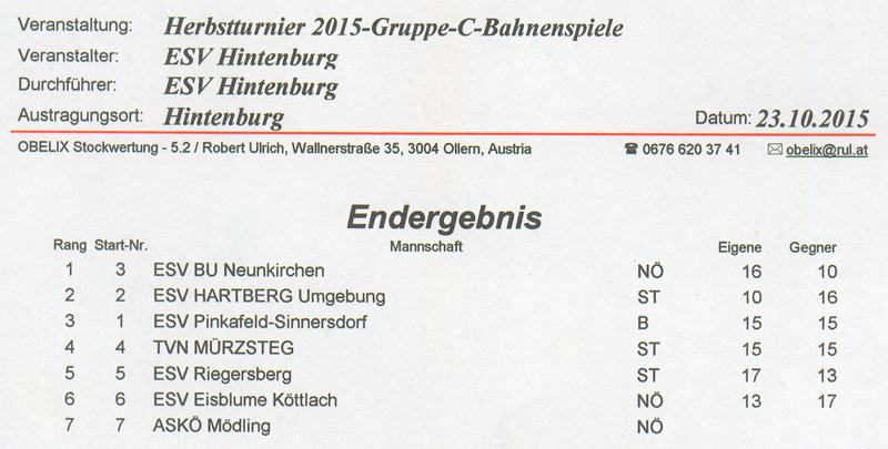 ESV Hintenburg Herbstturnier 2015 1