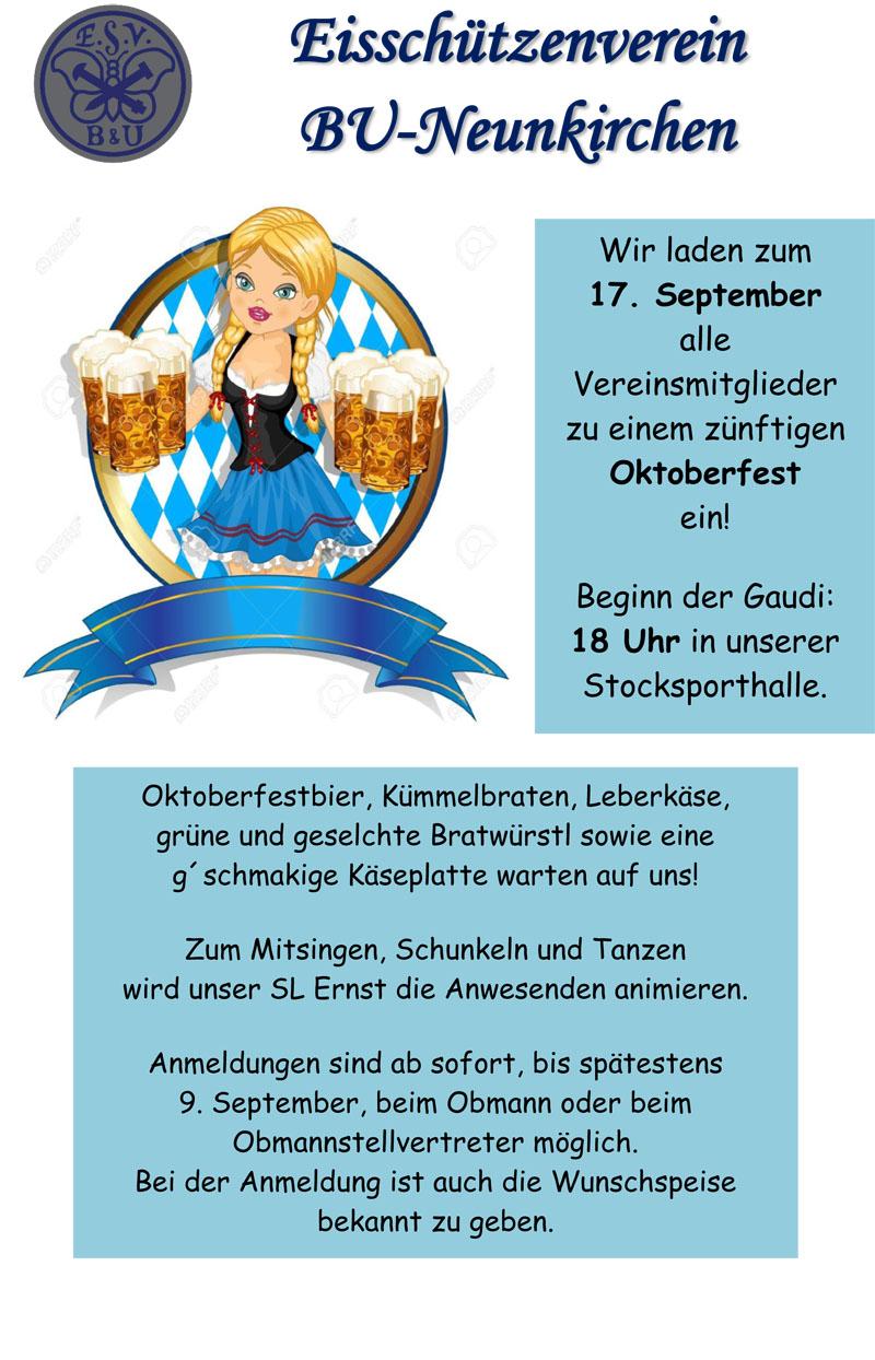 einladung oktoberfest !! | esv bu-neunkirchen, Einladung