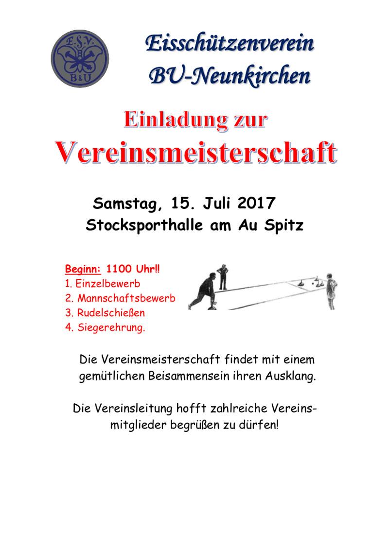 Einladung Vereinsmeisterschaft 2017