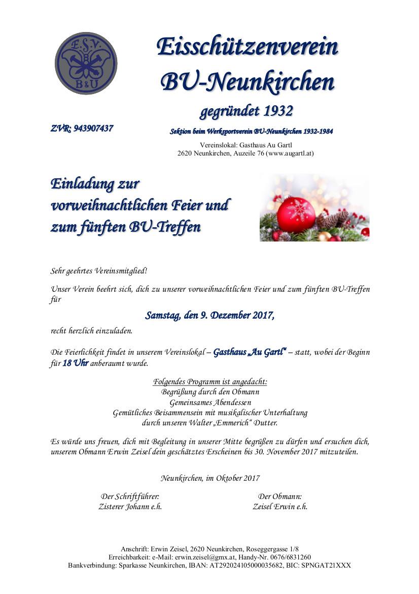 Einladung Weihnachtsfeier 2017